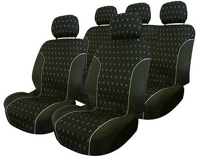 Carpoint Universal 9pce Full Set Car Interior Protection Seat Covers - Charcoal