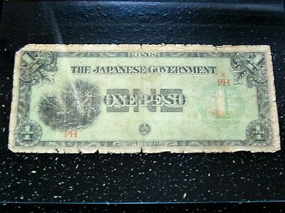 Japanese Government one Peso WWII  Philippines Banknote  Rare Circulated