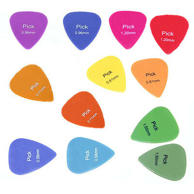 12x Acoustic Electric Guitar Picks Plectrums Assorted Colours 6 Thickness New BF