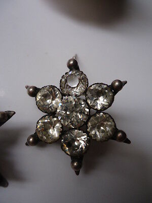 Antique Georgian Brooch Bright Diamond Paste Flower Star Solid Silver Beautiful