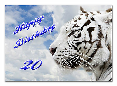 c072; Large Personalised Birthday card; Custom made for any name; Tigers