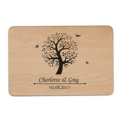 Personalised Laser Etched/engraved Wedding Tree Wooden Chopping Board Beech