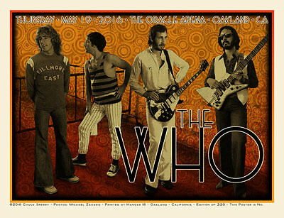 The Who Chuck Sperry Print Oracle Arena/Oakland Poster XXX/350 S/N SOLD OUT MINT