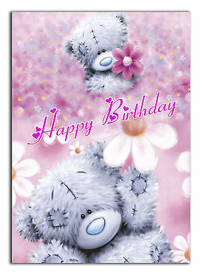 c435; Large Personalised Birthday card; Custom made for any name; Pink Teddy
