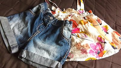 Next girls 2 piece set summer outfit smock top and denim shorts 4-5 years