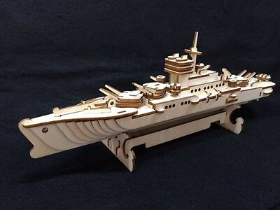 Laser Cut Wooden Warship 3D Model/Puzzle Kit