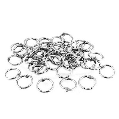 50 Pcs Staple Book Binder 20mm Outer Diameter Loose Leaf Ring Keychain UK New BF