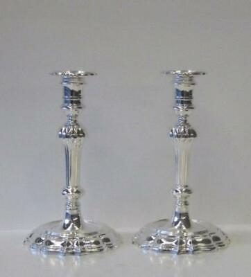 Italian 925 Sterling Silver Handcrafted Glossy & Fluted Candlesticks 00322-2