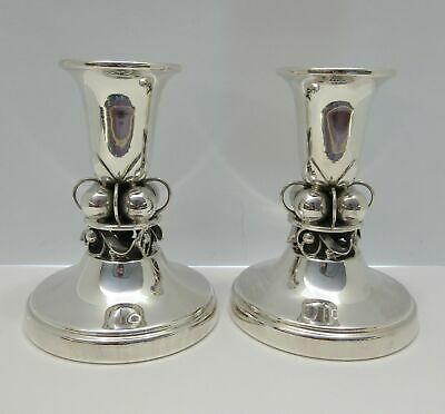 925 Sterling Silver Handcrafted Classic Glossy George Jensen Style Candlesticks