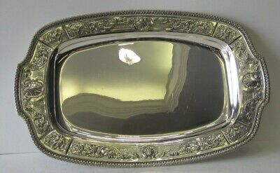 Old Antique Sterling Silver Hand Chased Detailed Serving Platter Tray A-1543