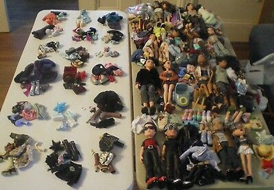 HUGE 16 Bratz Boy Girl Dolls, Clothes, Shoes, Accessories, Posters - Lot of 225+