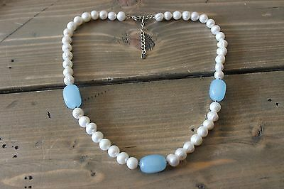 Large Genuine Pearl Blue Jade Sterling Silver Necklace