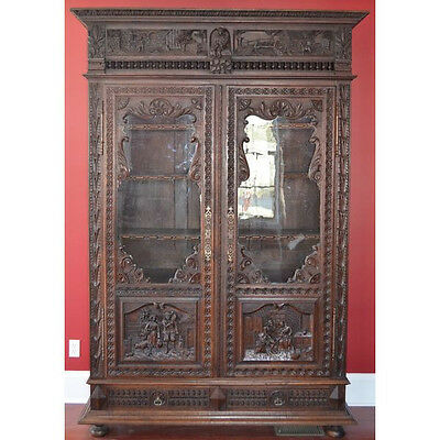 Monumental Antique Carved Chestnut French Brittany Bookcase Display Cabinet