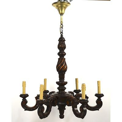 French Louis XV style 6 Light Point Carved Walnut Chandelier, ca. 1940