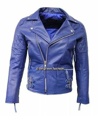 233 Men/'s Biker Jacket Cherry RECKLESS Quilt CLASSIC BIKER STYLE HIDE LEATHER