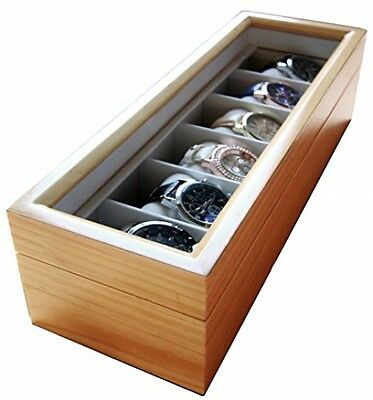 Watch Box Organizer Case with Glass Display Top Holds 6 Light Wood