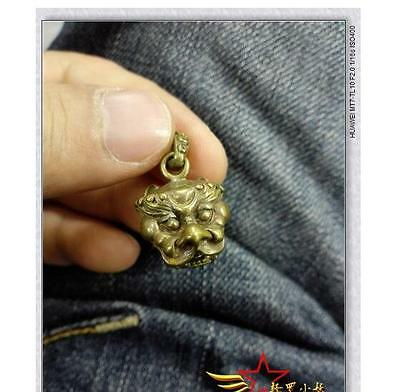 FANTASY Vintage Fob Solid Brass Copper Lion Head Key Chain Ring Hook Wallet Clip