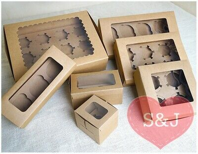 10 Kraft Brown Paper Cupcake/Muffin Box Wedding Party Favours 1/2/3/4/6/8 Holder