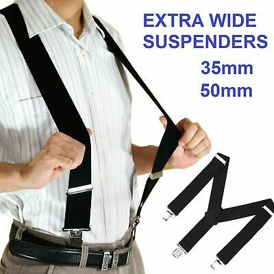 EXTRA WIDE SUSPENDERS 35mm / 50mm ADJUSTABLE CLIP ON STRONG MENS BRACES WEDDING