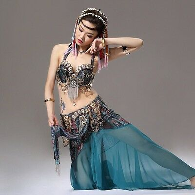 AU Tribal Vintage Belly Dance Costume Outfit Set Bra Belt Carnival Bra Top+Skirt