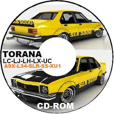 HOLDEN TORANA Series LC LJ LH LX UC XU1 L34 A9X PARTS ASSEMBLY RESTORATION CDROM