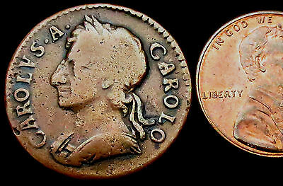 """R486: 1675 Charles II """"Restoration"""" Copper Farthing - notoriously soft metal"""