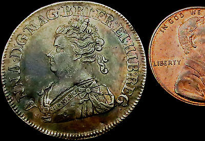 R478: 1707 Queen Anne Silver Medal - Union of Scotland & England - Superb Toning