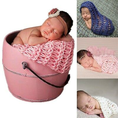 Soft Knitted Crochet Mat Rug Baby Newborn Backdrop Blanket Photography Props BGO