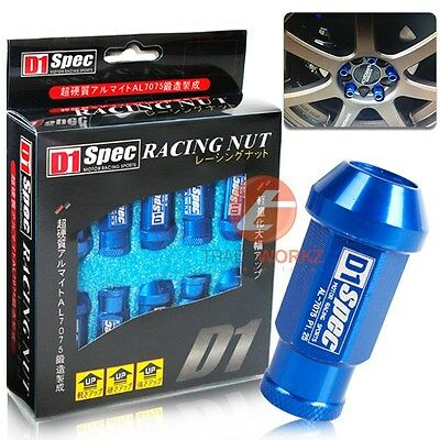 Set of 20 Pcs D1SPEC Blue Light Weight Billet Racing Wheel Lug Nut M12x1.25
