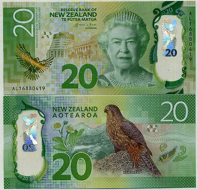 NEW ZEALAND 2015 20 DOLLARS NEW DESIGN UNC Brighter Money!!!!!