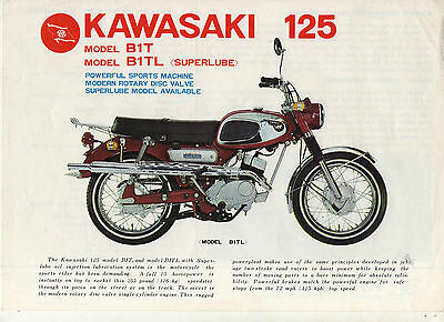 Kawasaki 125 Model B1T B1TL Superlube - 1969 - 2 page Motorcycle Brochure NCS