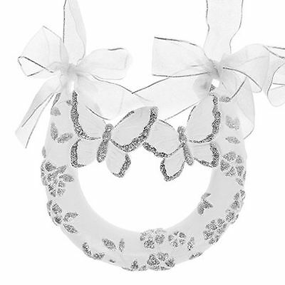 "Wedding Day White with Silver Glitter Double Butterfly Horseshoe ""A"""
