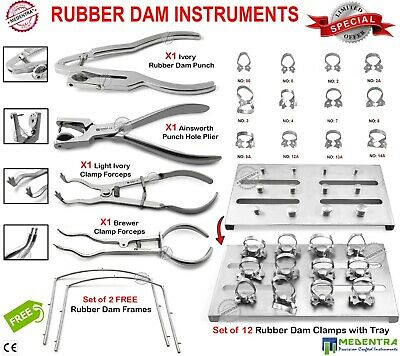 Professional Restorative Dentistry Rubber Dam Tools Punch Pliers Clamps Ivory CE