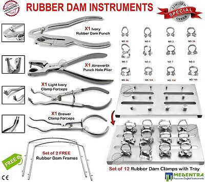 Rubber Dam Wingless Clamps Ainsworth Light Ivory Brewer Forceps For Dentistry CE