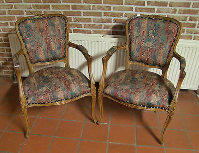 Quality Vintage French Carved Oak Pair Of Armchairs - (020116)
