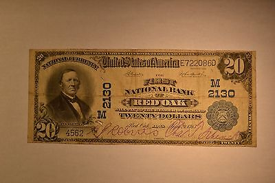 Red Oak, IA - $20 1902 Plain Back Fr. 656 The First NB Ch. # (M)2130.