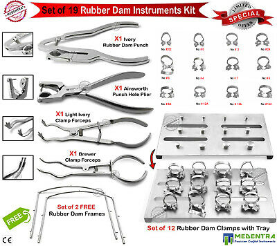 Endodontic Professional Rubber Dam Clamps Wingless Ivory Punch Pliers Frames Lab