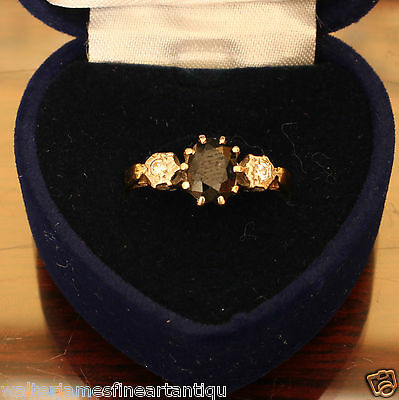 Hallmarked 18ct Gold SAPPHIRE & TWIN DIAMOND Ring, 3.3 grams, Size M