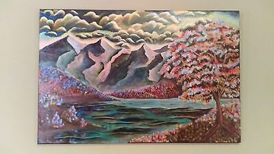 Contemporary Mountain Scape Painting, 36x24in, Acrylic