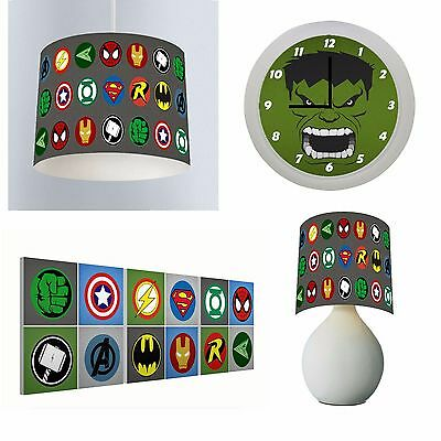 AVENGERS SUPERHERO - Bedroom Bundle Lampshade, Lamp, Clock, Door Sign