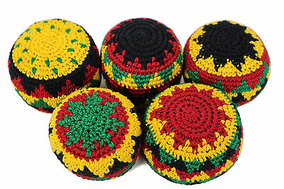 Pack of 5 Handmade Rasta Theme Hacky Sacks Footbag Juggling Balls Magic