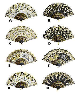 Spanish Style Wedding Party Folding Hand Held Glitter Flower Pattern Fan