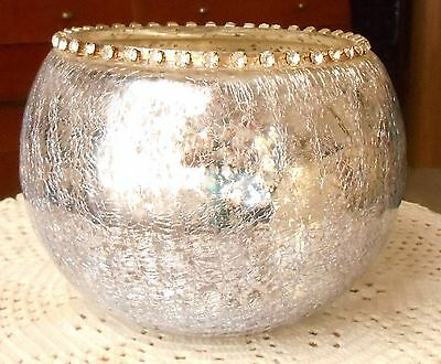 "Silver Crackle Glass Candle Holder with Rhinestone Decorations Holds 3"" Candle"