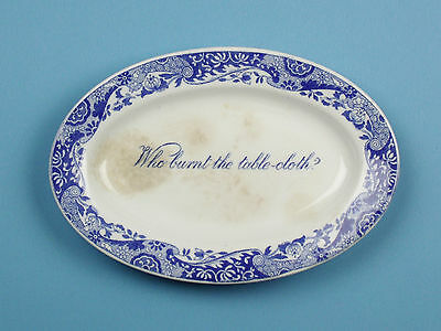 Antique Copeland Spode's Italian Blue & White Oval Dish Who burnt the tablecloth