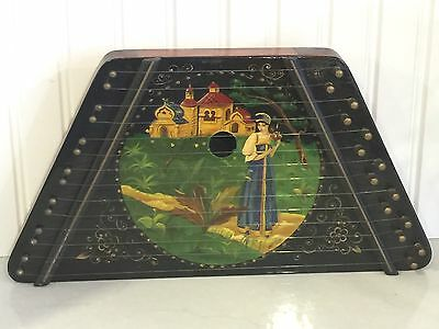 Vintage Russian Hand Lacquer Painted Zither Lap Harp Signed String Instrument