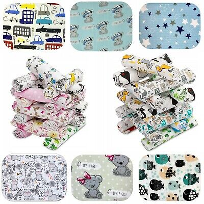 3 Pack Large Printed Muslin Squares 80x70cm Natural Cloth Reusable Bibs Wipes