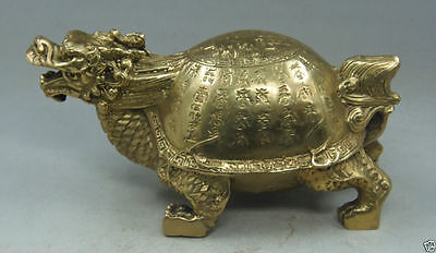Chinese hand-carved ornaments copper Brass character Dragon Turtle statue