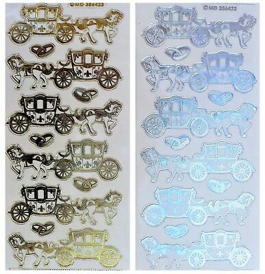 HORSE & CARRIAGE Peel Off Stickers Gold or Silver on Clear  Princess Wedding