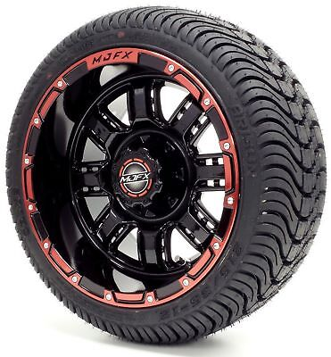 "12"" Madjax Transformer Black/Red Wheel and 215/35-12 Cruze Golf Cart Tire Combo"