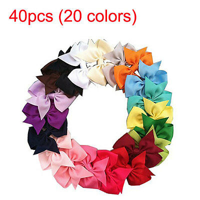 40pcs (20 Colors) Boutique Hair Bows Baby Kids Alligator Grosgrain Ribbon Clip